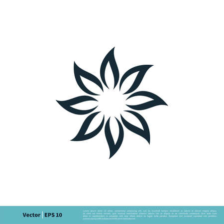 Ornamental Flower Icon vector Logo Template for Spa Illustration Design.
