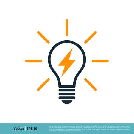 Light Bulb Lighting bolt Icon Vector Logo Template Illustration Design.