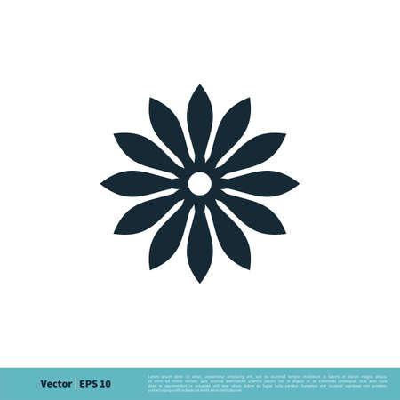 Ornamental Decorative Flower Icon Vector Logo Template Illustration Design.