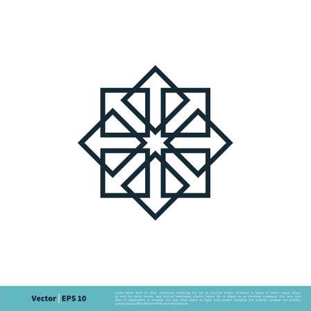Ornamental Arrow Icon Vector Logo Template Illustration Design. Illustration