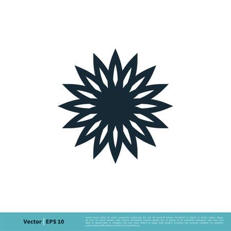 Ornamental Decoration Flower Icon Vector Logo Template Illustration Design.