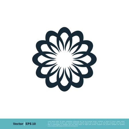 Ornamental Flower Icon Vector Logo Template Illustration Design. Illustration