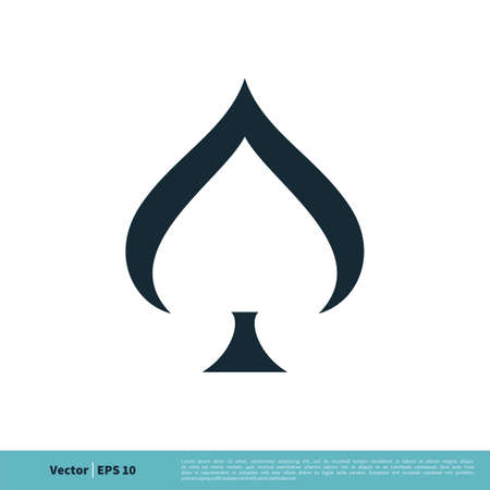 Spade of Poker Card Icon Vector Logo Template Illustration Design.