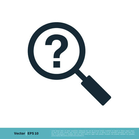 Magnifying Glass and Help Icon Vector Logo Template Illustration Design.