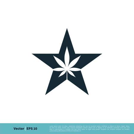 Hemp / Marijuana Leaf and Star Icon Vector Logo Template Illustration Design. Illustration