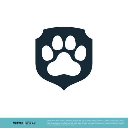 Paw Print Pet Protect Icon Vector Logo Template Illustration Design.