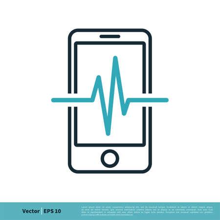 Heartbeat Pulse Medical Smartphone Icon Cardiogram Vector Logo Template Illustration Design.