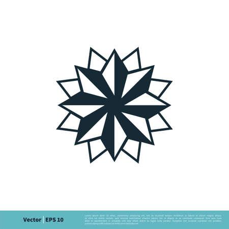 Ornate Star Icon Vector Logo Template Illustration Design.