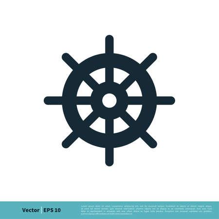 Ship, Boat, Yacht Steer Icon Vector Logo Template Illustration Design. Vector EPS 10.