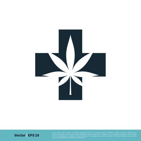 Hemp / Marijuana Leaf and Cross Icon Vector Logo Template Illustration Design. Vector EPS 10.