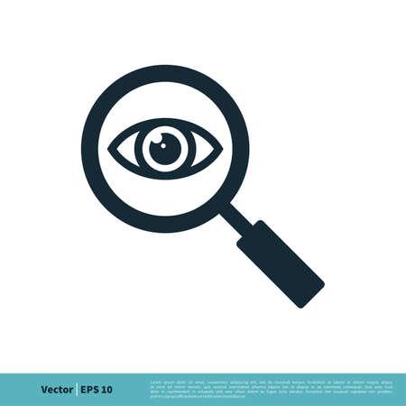 Eyeball and Magnifying Glass Icon Vector Logo Template Illustration Design. Vector EPS 10. Ilustração