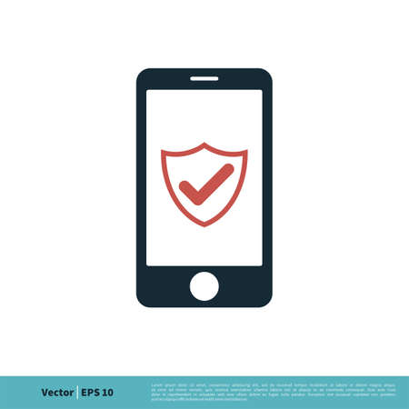 Shield Check Mark Smartphone Icon Vector Logo Template Illustration Design. Vector EPS 10.