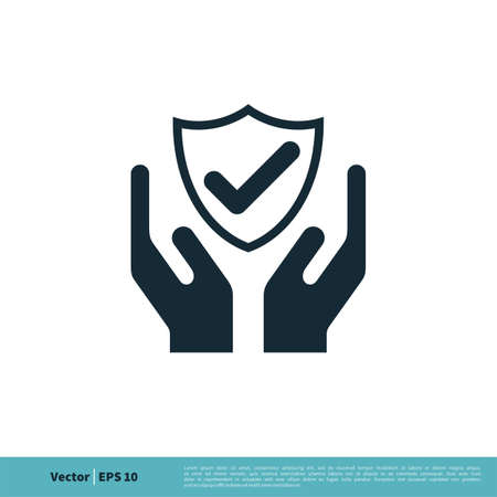 Check Mark Shield and Hand Icon Vector Logo Template Illustration Design. Vector EPS 10.
