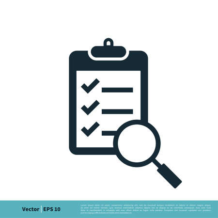 Clipboard Paper Magnifying Glass Icon Vector Logo Template Illustration Design. Vector EPS 10.