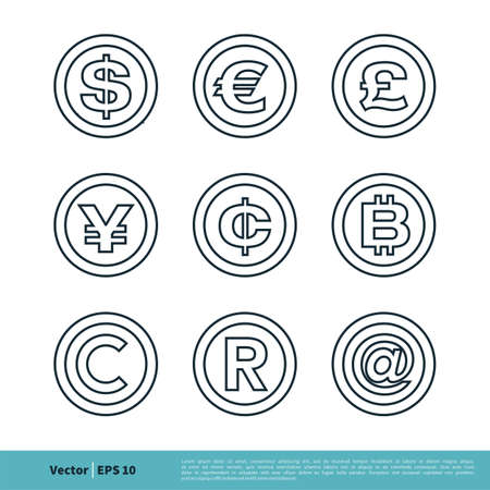 Currency Sign, Money Icon Line Art Vector Logo Template Illustration Design. Vector EPS 10.