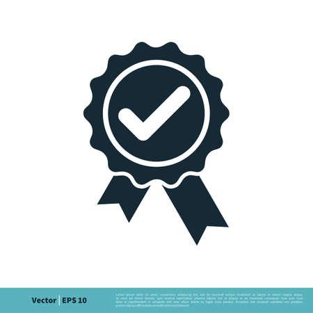 Check mark Award Rosette Stamp Icon Vector Logo Template Illustration Design. Vector EPS 10.