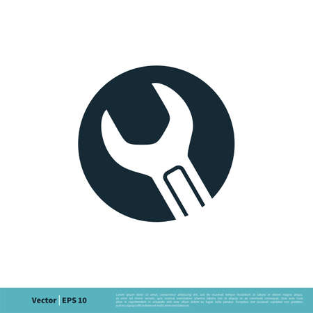 Wrench in Circle Icon Vector Logo Template Illustration Design. Vector EPS 10. Archivio Fotografico - 150600755