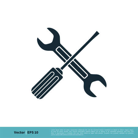 Wrench and Screwdriver Icon Vector Logo Template Illustration Design. Vector EPS 10. Archivio Fotografico - 150600776