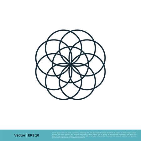 Ornamental Decoration Flower Icon Vector Logo Template Illustration Design. Vector EPS 10. Vettoriali