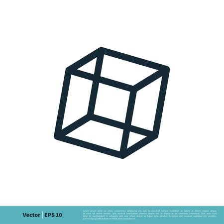 Cube Box Line Art Icon Vector logo Template Illustration Design. Vector EPS 10.