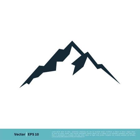 Mountain, Volcano, Summit, Peak Icon Vector Logo Template Illustration Design. Vector EPS 10.