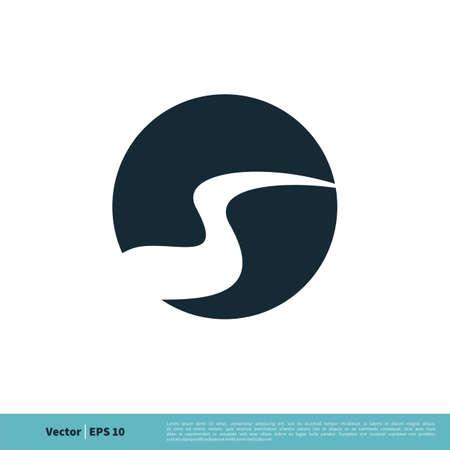 River Pathway / Creek Icon Vector Logo Template Illustration Design. Vector EPS 10. Çizim