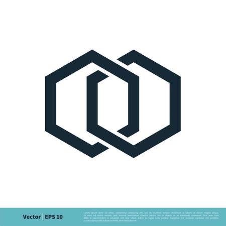 Hexagon Abstract Icon Logo Vector Template Illustration Design. Vector EPS 10.  イラスト・ベクター素材