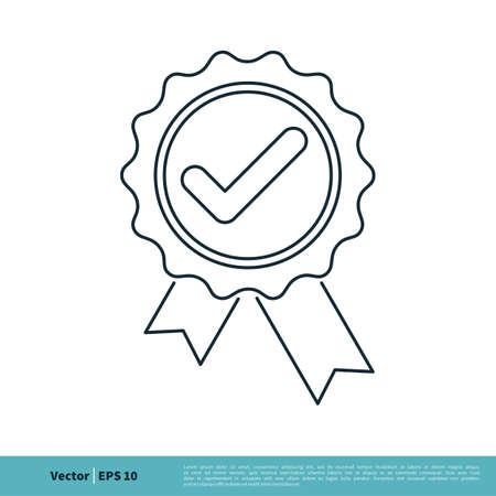 Check mark Award Stamp Line Art Icon Vector Logo Template Illustration Design. Vector EPS 10.