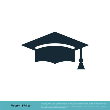 Graduation Hat / Cap Icon Vector Logo Template Illustration Design. Vector EPS 10. Vettoriali