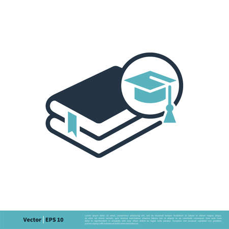 Book and Graduate Cap Icon Vector Logo Template Illustration Design. Vector EPS 10. Vettoriali
