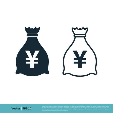 Money Bag Yen Icon Vector Logo Template Illustration Design. Vector EPS 10.