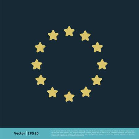 Europe Flag Star Icon Vector Template Illustration Design. Vector EPS 10. Ilustração