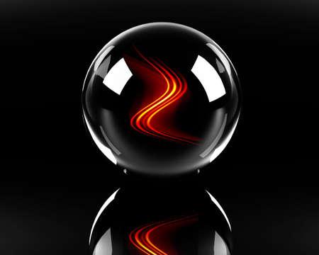 esfera de cristal: Fiery olas en la esfera de vidrio sobre el fondo negro
