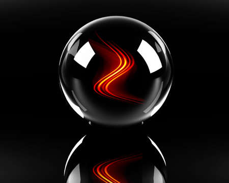 fiery waves in the glass sphere on the black background Stock Photo