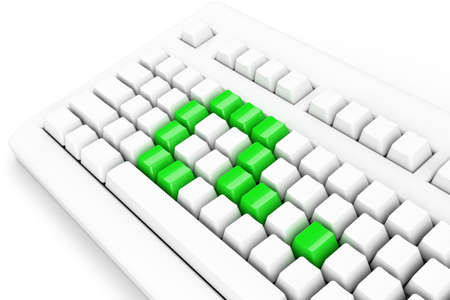 keyboard with green question-mark