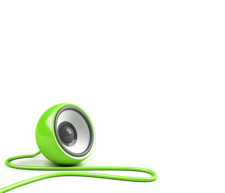 sonorous: bright green speaker with cable