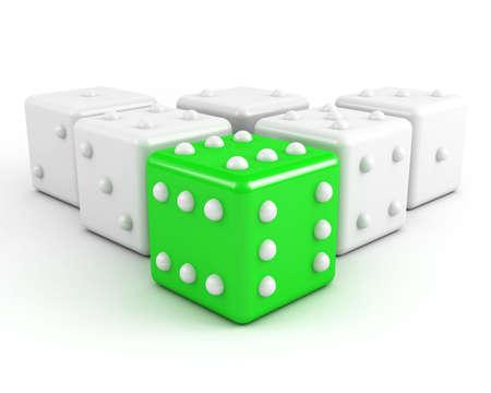 emulation: green leading dice. winning leadership concept