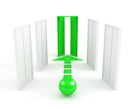 way out: right way. leadership concept. green Stock Photo