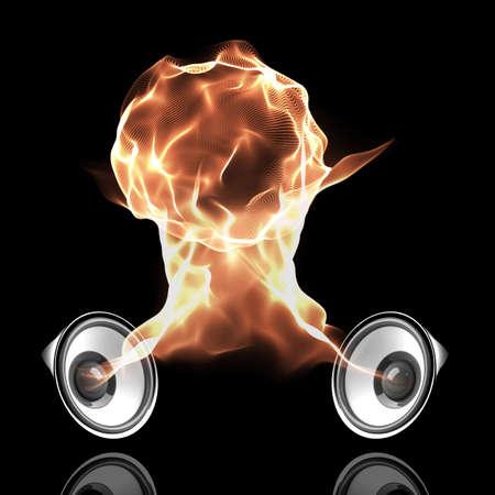 geluidsgolven: zwart-audio systeem met vurige geluidsgolven die brand bal Stockfoto