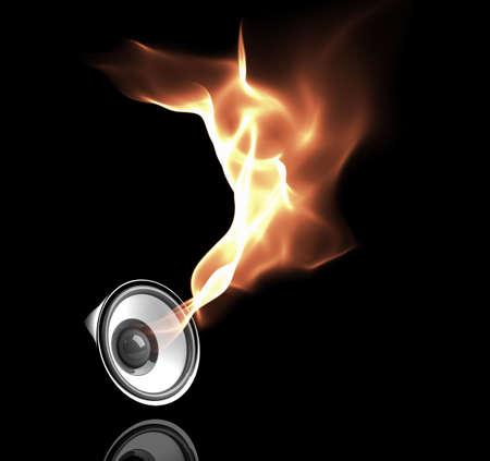 geluidsgolven: zwart luidspreker met vurige geluidsgolven