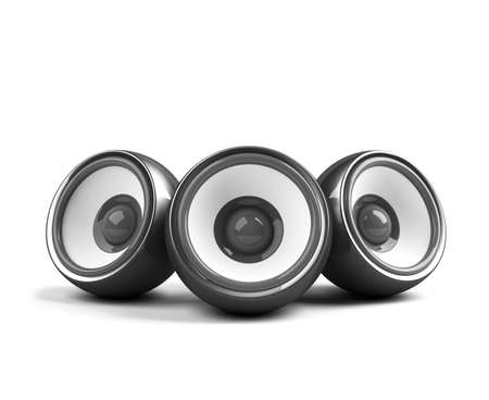 sonorous: black stylish audio system front Stock Photo