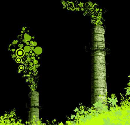 stared: green stared chimney-stalks. environmental concept Stock Photo
