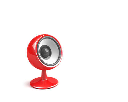 sonorous: red speaker on pedestal Stock Photo
