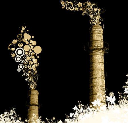 stared: sepia stared chimney-stalks. environmental concept