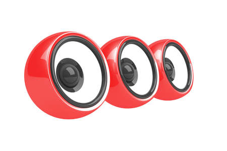 sonorous: three red speakers audio system isolated