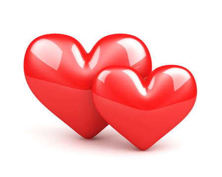 two red hearts on the white background Stock Photo