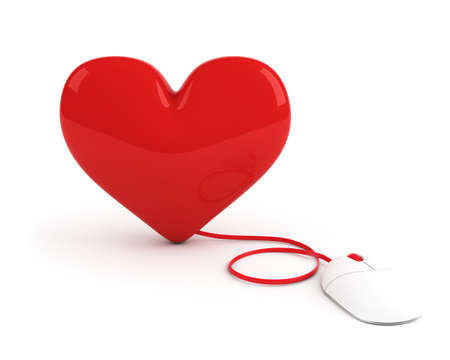 red heart controled by computer mouse