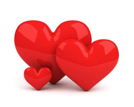 tres corazones rojos. s�mbolo del amor de pareja y su hijo Foto de archivo - 4228868