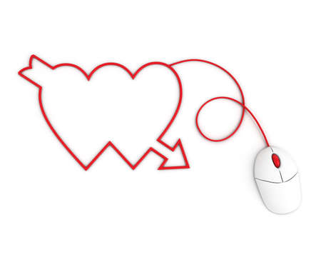 depicted: two hearts depicted by computer mouse cable Stock Photo