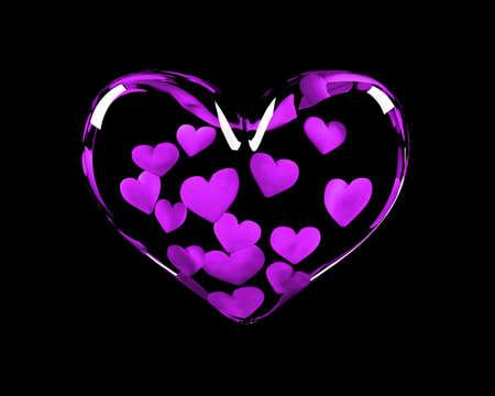 corazón de cristal con 14 corazones violetas dentro que simboliza el 14 de febrero Foto de archivo - 4290017